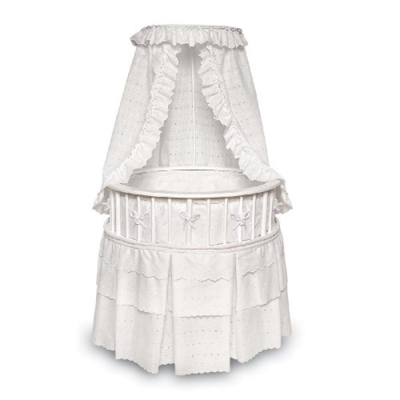 Badger Basket Elegance Round Baby Bassinet, White with White Eyelet by Badger Basket