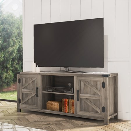 FITUEYES Farmhouse Barn Door Wood TV Stands for 70'' Flat Screen, Media Console Storage Cabinet, Rustic Gray Wash Entertainment Center for Home Living Room, 59 Inch Tv Cabinet Plan