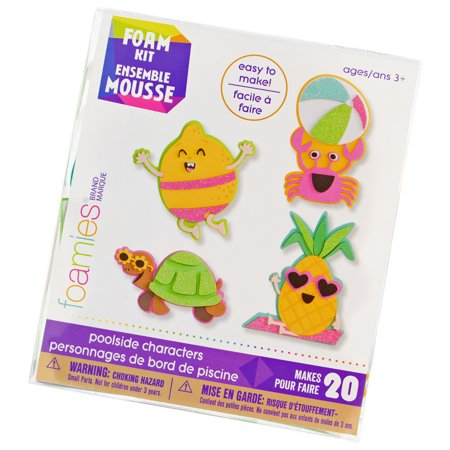Summer Poolside Foam Characters Crafting Kit - More than 250 Foam Stickers and Base Shapes - Makes 20 Tropical Crafts - Ages 3+
