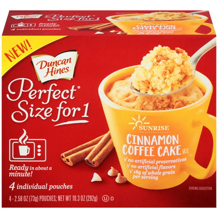 (2 Pack) Duncan Hines® Perfect Size for One® Sunrise Cinnamon Coffee Cake Mix 4-2.58 oz.