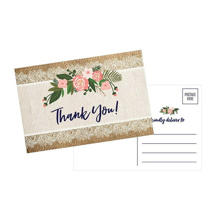 50 4x6 Rustic Flower Thank You Postcards Bulk, Cute Kraft Floral Watercolor Note Card Stationery For Wedding, Bridesmaid, Bridal or Baby Shower, Teachers, Appreciation, Religious, Business, (Baby Note Cards)