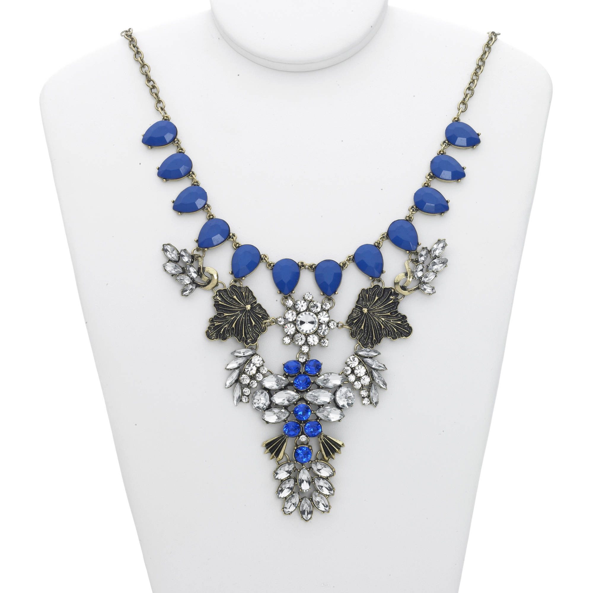 Gold-Tone Crystal Stone with Blue Accent Fashion Statement Necklace
