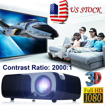2017 Black 3000Lumens Full HD 1080P LED LCD 3D VGA HDMI TV Home Theater Movie Projector Cinema