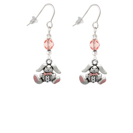 Sitting Bunny with Easter Egg Pink Bead French Earrings