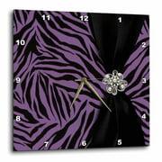 3dRose Purple Zebra Patterned - Wall Clock, 10 by 10-inch