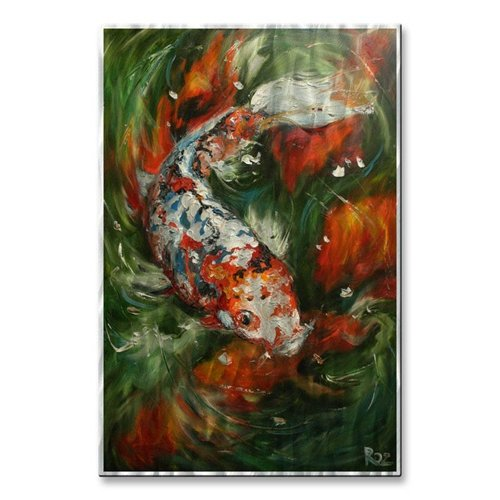 All My Walls 'Koi #15' by Rosilyn Young Painting Print Plaque