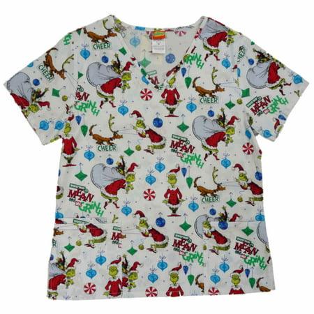 dbe80963e39 Dr. Seuss - Dr. Seuss Womens White Grinch Medical Smock Nurse Scrubs Shirt  Top - Walmart.com