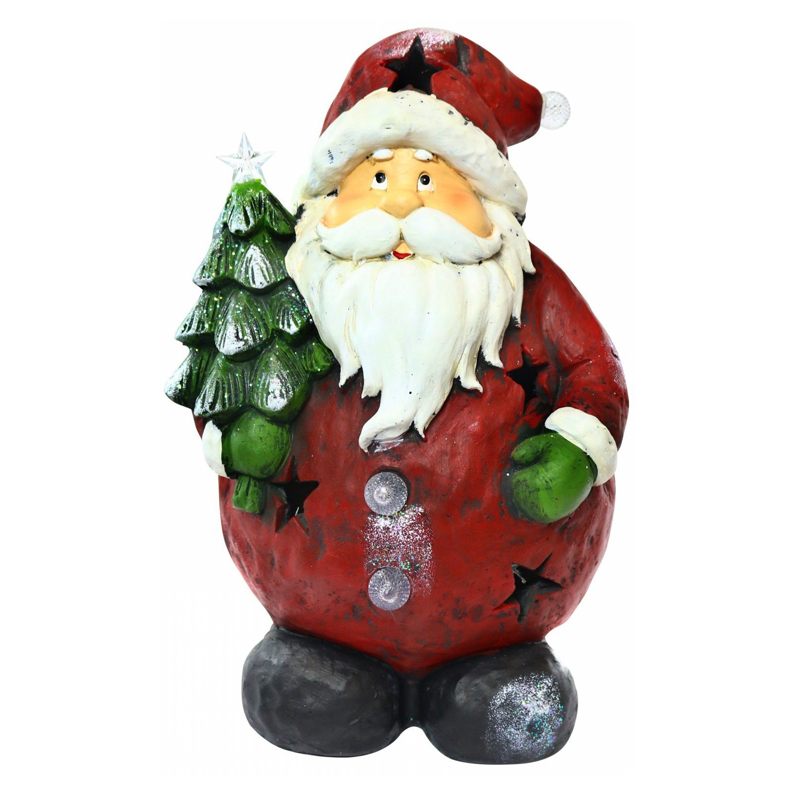 "16"" Santa Holding Tree Statue with 4 Color-Changing LED Lights"