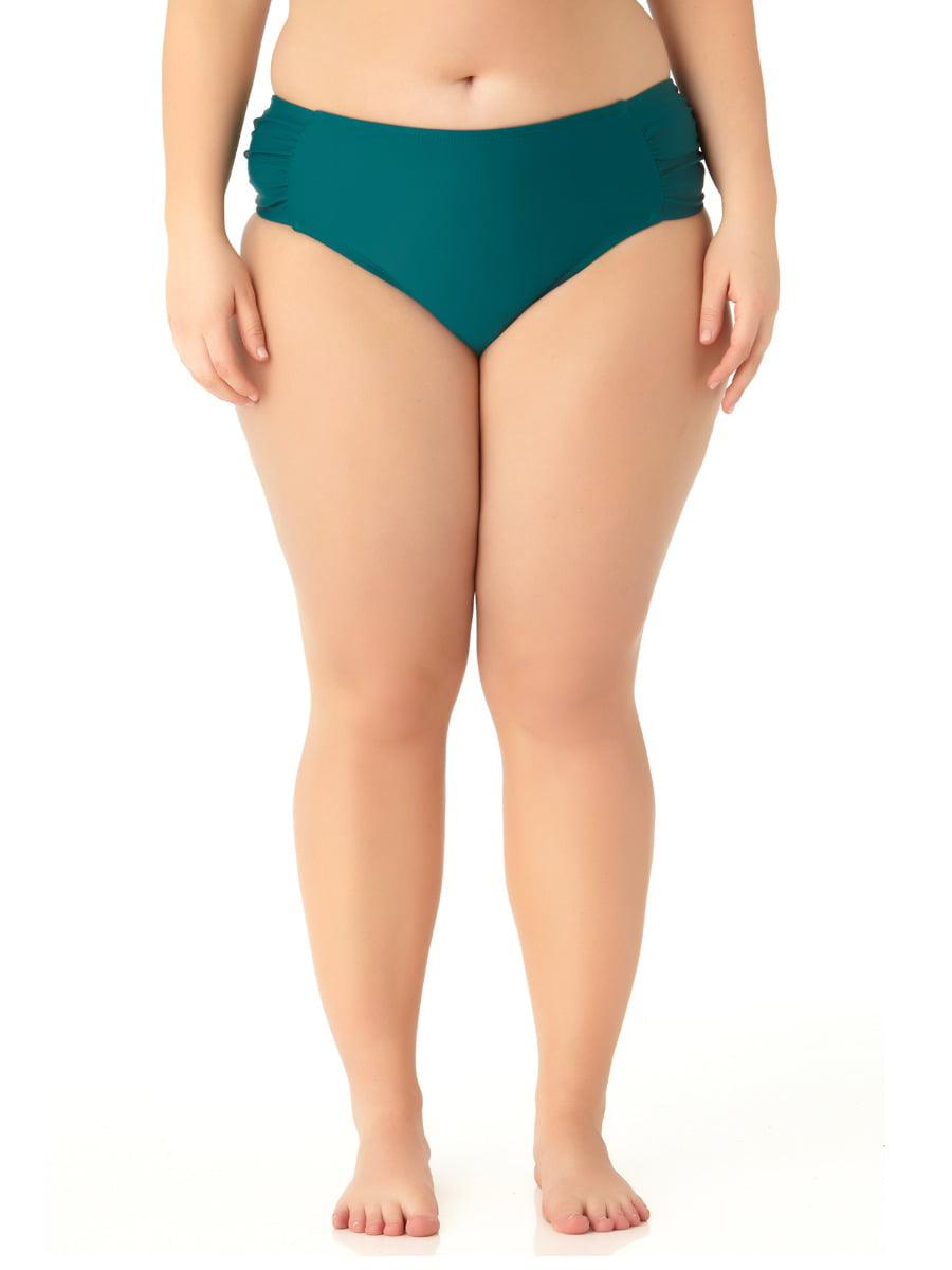 Catalina Women's Plus Size Teal Tab Side Swim Bottom