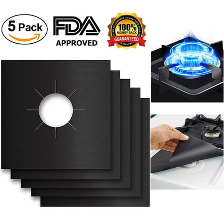 "5 Pack Gas Range Protectors Stove Protectors Stove Burner Covers, Stove Liner Cook Top Hob Liners, Reusable, Dishwasher Safe, Easy To Clean, Non-Stick for Kitchen Cooking (10.6"" x 10.6"" )"