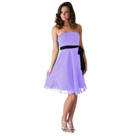 Faship Pleated Bust Short Formal Dress Lavender -