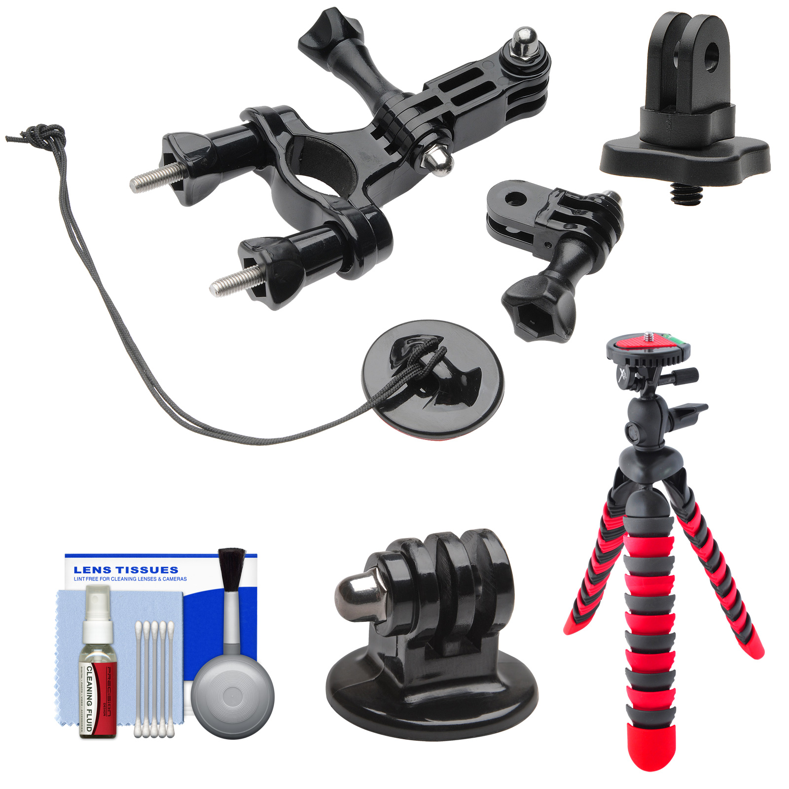 "PRO-mounts PMGP02 Bike/Handlebar Tube Mount with 1/4"" Thread Adapter + Flex Tripod Kit for GoPro HERO, Sony Action Cam, Drift, Veho Muvi, and most Cameras"