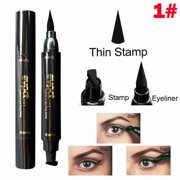2 in 1 Dual Head Waterproof Eyebrow Pencil Eyeliner Set Liner Thin Stamp Size S