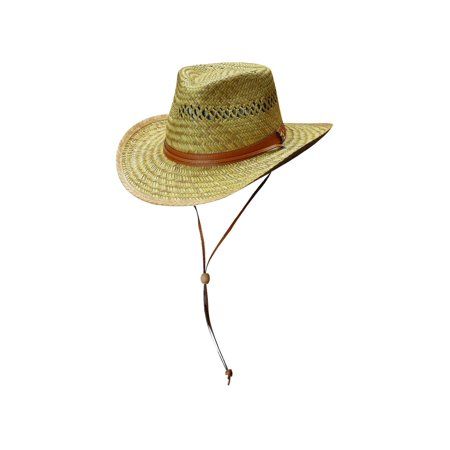 f8231d0bc30 Dorfman Pacific - Men s Rush Straw Lightweight Outback Hat with Chin Cord -  Walmart.com