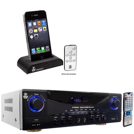 Pyle Stereo Receiver and iPod Dock Package PT590AU 5.1 Channel 350 Watts Built-In AM FM Radio USB SD Card HDMI... by Pyle