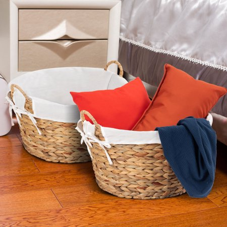 - Costway Set of 2PC Large Seagrass Laundry Storage Basket Handles Home Decor