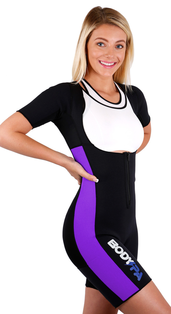 6a734c3c30 Body Spa Sauna Suit with Sleeves for weight loss Full Body GYM Sports  Aerobic Neoprene Sauna Body Shaper makes you sweat - Walmart.com