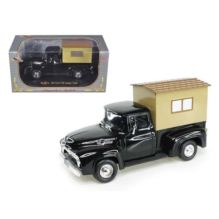 1956 Ford F-100 Pickup Truck Black with Camper 1/32 Diecast Model Car by Signature Models - image 1 de 1