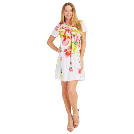 MBJ Womens Print Front and Back Yoke Pleats Dress Top ( S - XXXL )