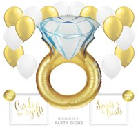 Huge Wedding Ring 19-Piece Balloon Décor Kit with Signs, Gold, for Bridal Shower Engagement Party