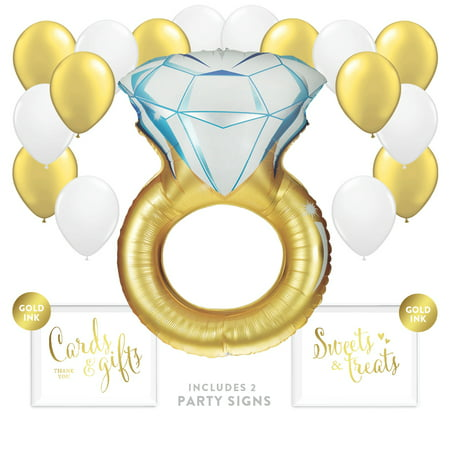 Balloon Party Décor Kit with Signs, Huge Wedding Diamond Ring (Gold) - Gold And White Balloons