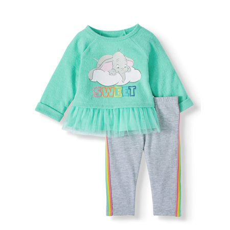 Girls Football Outfits (Disney Dumbo Baby Girl Long Sleeve Tulle Ruffle Tunic and Legging, 2pc Outfit)