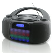Magnavox MD6972 CD Boombox With Digital AM FM Radio Color Changing Lights And Bluetooth Wireless Technology, Black
