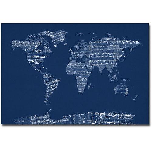 """Trademark Art """"Sheet Music World Map in Blue"""" Canvas Wall Art by Michael Tompsett"""