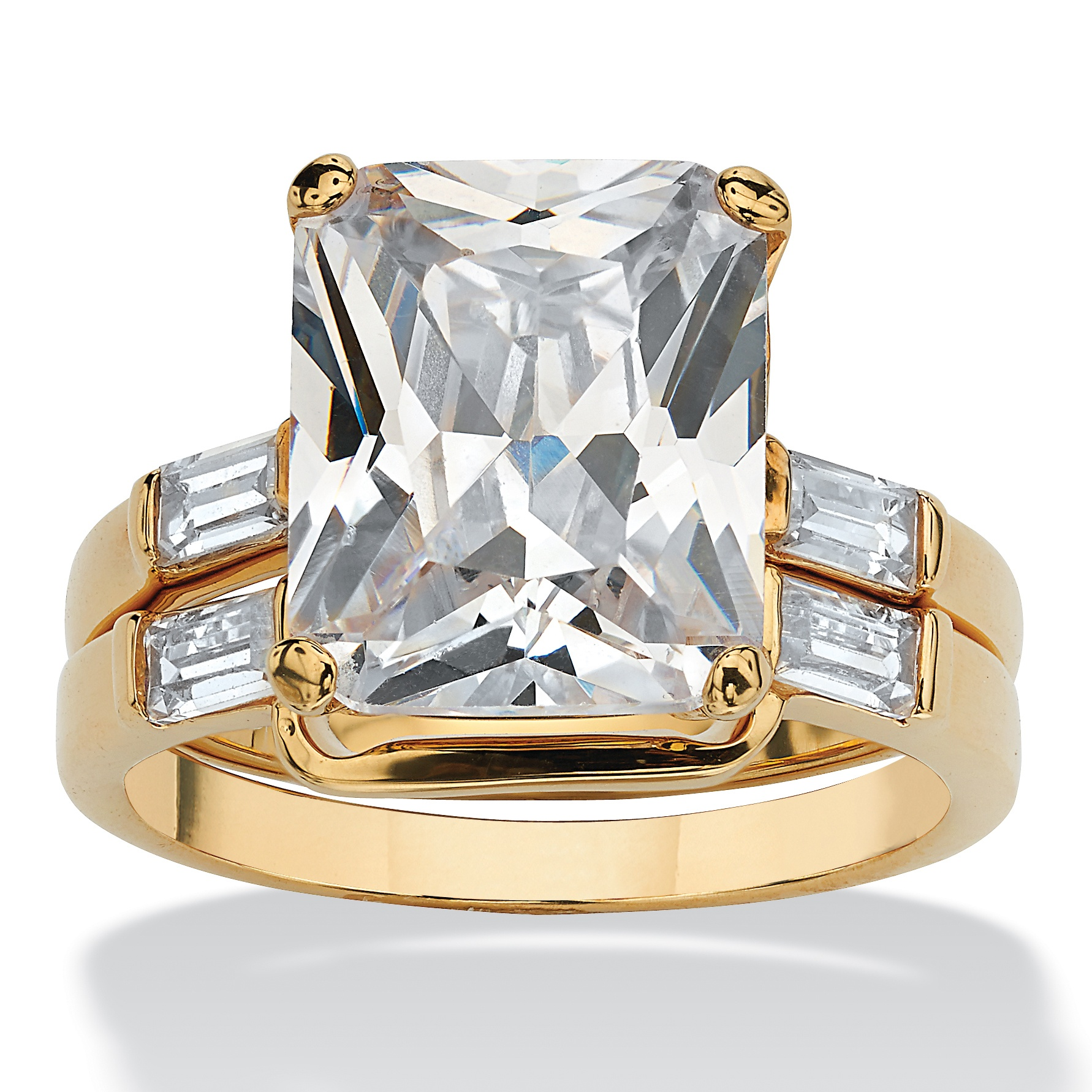 7.56 TCW Emerald-Cut Cubic Zirconia 14k Yellow Gold-Plated Bridal Engagement Ring Wedding Band Set