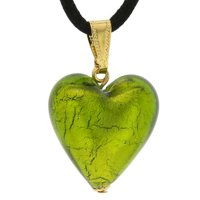 GlassOfVenice Murano Glass Heart Pendant - Lime Green and Gold