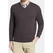 Nordstrom NEW Brown Mens Size XL V-Neck Wool Pullover Solid Sweater $75
