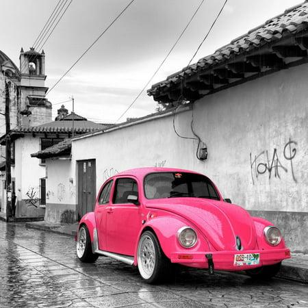 ¡Viva Mexico! Square Collection - Hot Pink VW Beetle Car in San Cristobal de Las Casas Print Wall Art By Philippe Hugonnard - Decoracion Casa De Halloween