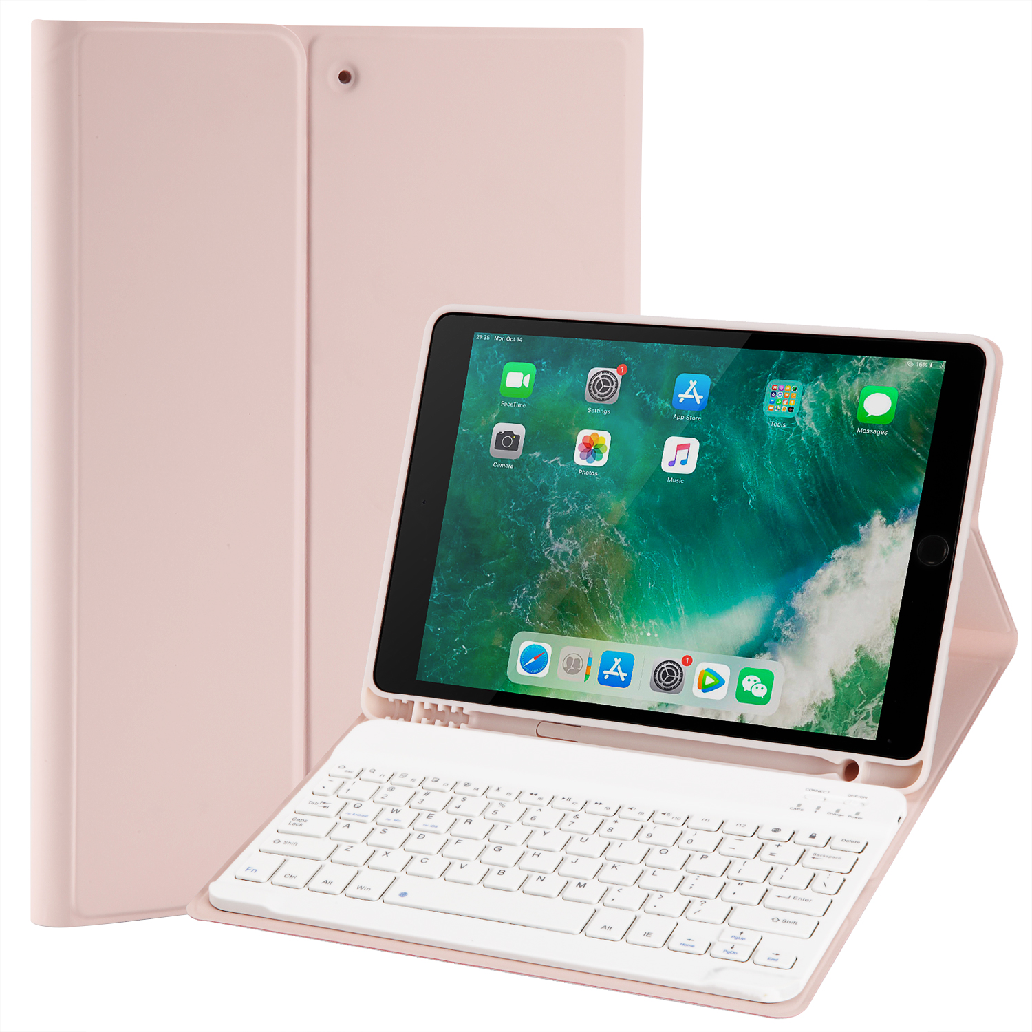Ipad 10 2 Touch Bluetooth Keyboard Case Stand With Pencil Holder Set Tablet Protective Case Pink Walmart Com Walmart Com