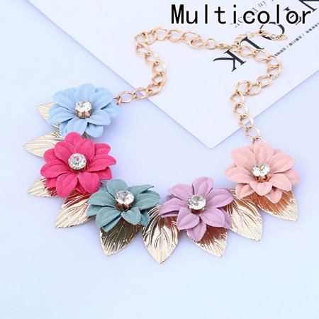 Fancyleo Bohemian Statement Maxi Amazing Delecate Crystal Charms Flower Choker Necklaces For Women Beaded Big Fashion ()