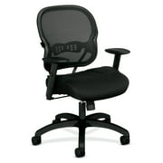 basyx VL712 Series Mid-Back Swivel/Tilt Work Office Chair, Black Mesh
