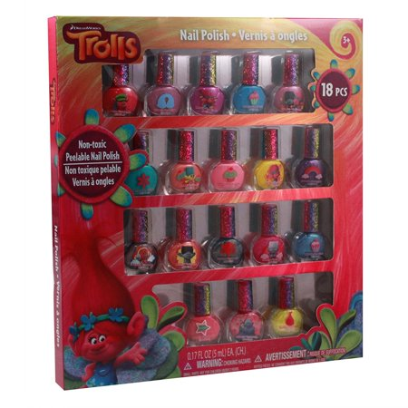 Girls Dreamworks Licensed Trolls Movie Dress Up 18pc Nail Polish Gift Set, Officially Licensed Dreamworks Trolls Nail Polish Gift Set By Townley - Movies Dress Up