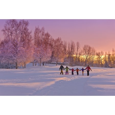 Family Group Holding Hands Walk On A Snow Path At Sunset With A Birch Forest In The Background Russian Jack Springs Park Anchorage Southcentral Alaska Winter Canvas Art - Kevin - Family Group Pic