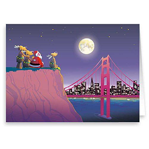 Moon Over San Francisco Golden Gate Bridge Christmas Card - 18 Boxed Cards & Envelopes 90013