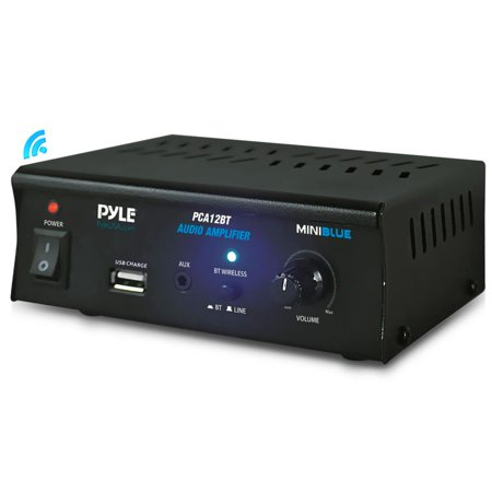 PYLE PCA12BT - Mini Blue Series Bluetooth Stereo Power Amplifier, Wireless Audio Streaming Amp with USB Charging & Audio AUX Input (2 x 25 Watt) Audio Stereo Amplifier Amp