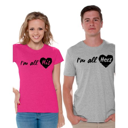Awkward Styles Couple Shirts I'm All His I'm All Hers Matching T Shirts for Couple Love Gift Ideas for Valentine's Day All His & All Hers Cute Couple Shirts Boyfriend and Girlfriend Matching Outfits (Celebrity Couples For Halloween Ideas)