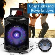 KOCASO Party Bluetooth Wireless Speaker Portable Bluetooth Audio System w/ Flashing LED Color Changing Music Stream Support USB TF AUX In FM