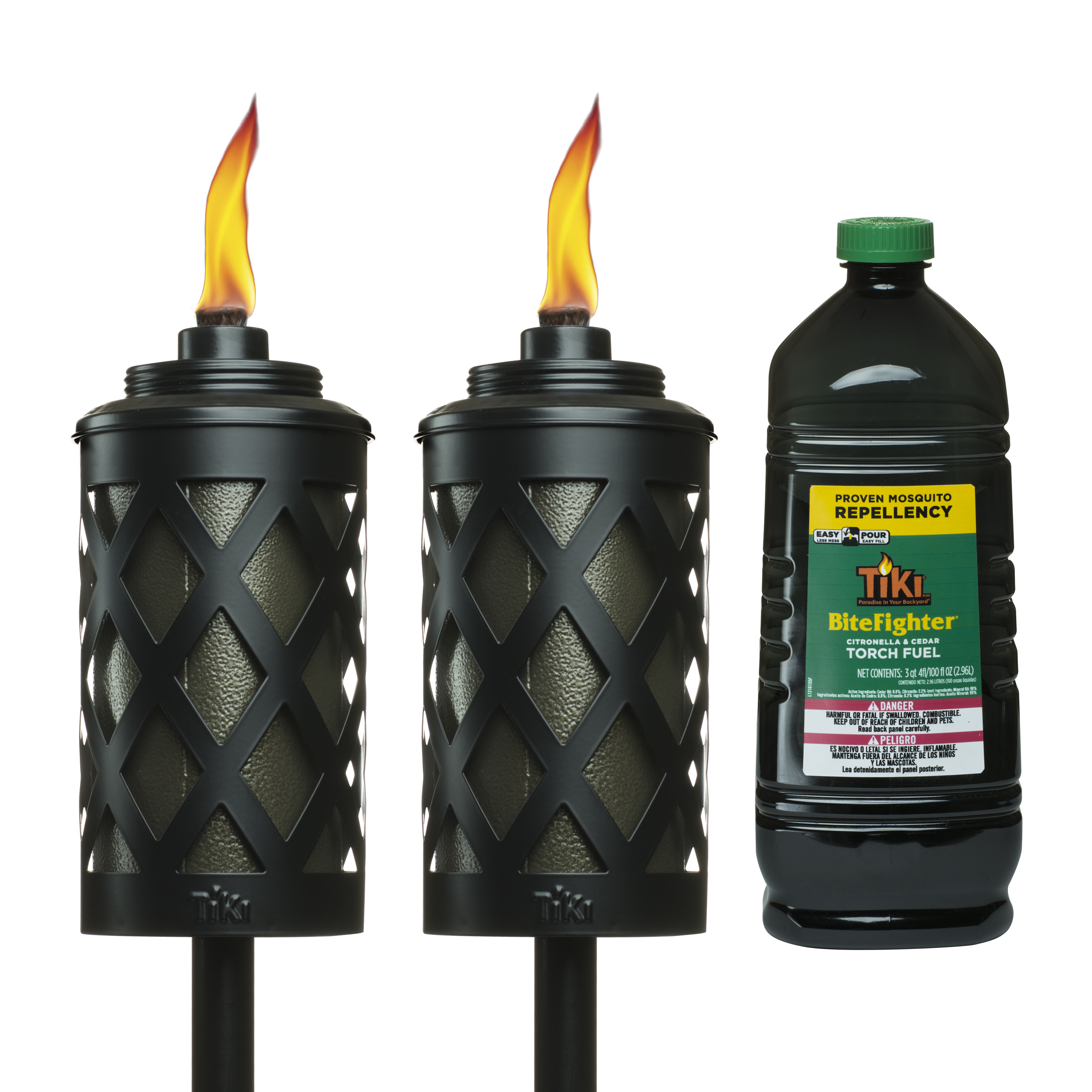"TIKI Brand Urban Metal Bundle with Two 65"" Urban Metal Bronze Torches and 100 oz BiteFighter Easy-Pour Fuel"