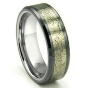 Titanium Kay Tungsten Carbide Golden Meteorite Inlay Comfort Fit Mens Wedding Band Ring Sz 10.0