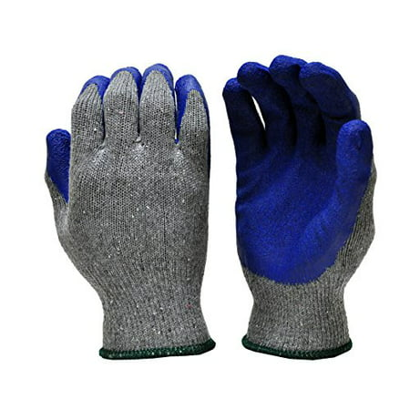 G & F 1511L-DZ Rubber Latex Coated Work Gloves for Construction, Blue, Crinkle Pattern, Men\\'s Large (Sold by dozen, 12 Pairs)