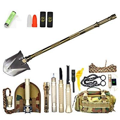 bang ti military folding shovel 30 in 1 multifunction w  waterproof flashlight + chainsaw outdoor survival kit by
