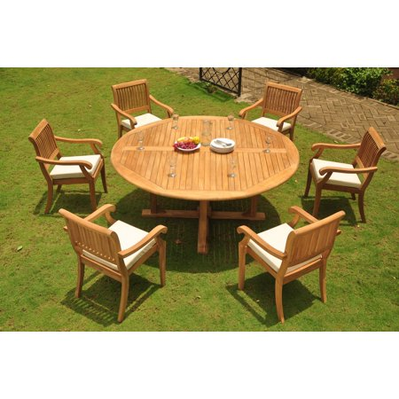 Brilliant Teak Dining Set 6 Seater 7 Pc 72 Round Dining Table And 6 Arbor Stacking Arm Captain Chairs Outdoor Patio Grade A Teak Wood Wholesaleteak Wmdsab61 Bralicious Painted Fabric Chair Ideas Braliciousco