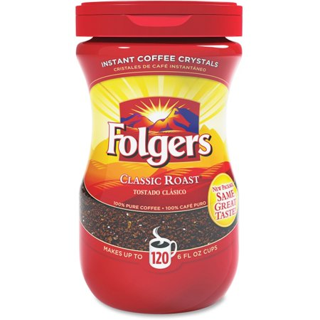 Folgers Classic Roast Instant Coffee Crystals Instant - Regular, Regular - Mountain Grown - Classic - 8 oz - 1 Each