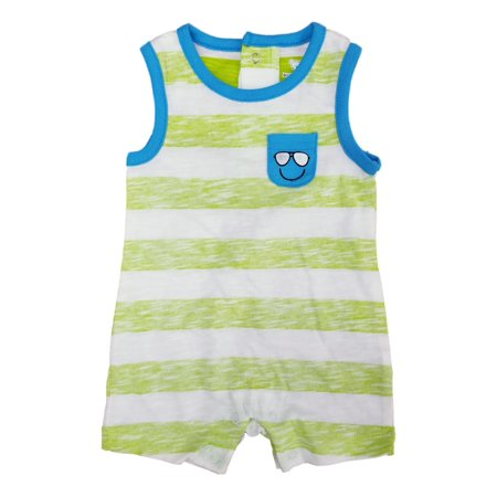 Infant Boys Lime Green & White Striped Smiley Face Baby Romper](Smiley Face Lights)