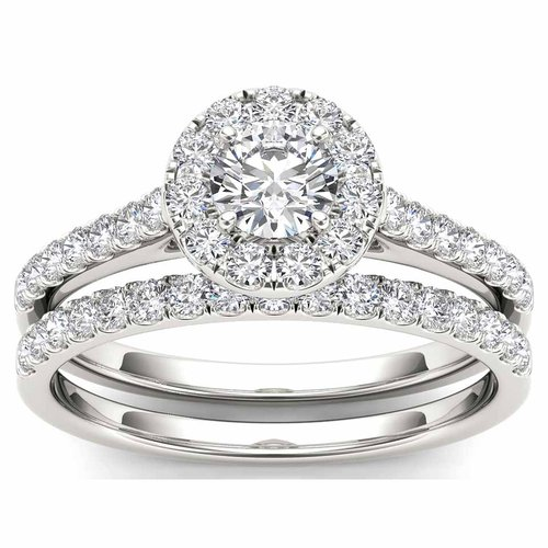 Imperial 1 Carat T.W. Diamond 10kt White Gold Single Halo Engagement Ring Set