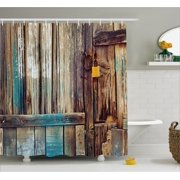 Rustic Shower Curtain, Aged Shed Door Backdrop with Color Details Country Living Exterior Pastoral Mansion Image, Fabric Bathroom Set with Hooks, Brown, by Ambesonne